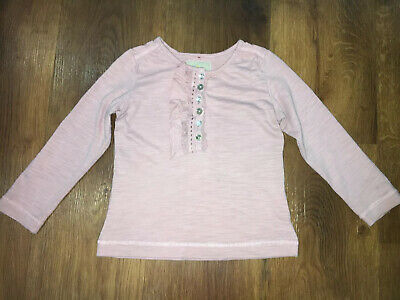 Girls Long Sleeved Top T-shirt. Dusky Pink, Ruffle & Jewel Buttons. Age 2-3.Next