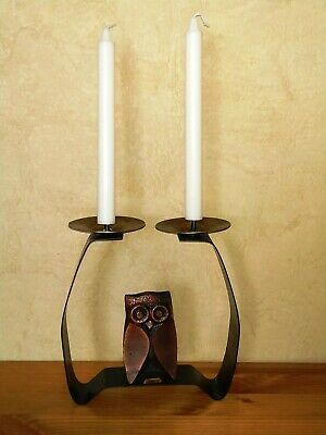 Owl Candle Holder Candlestick Bronze Iron Brass Table Decoration 2 Heads 1960's