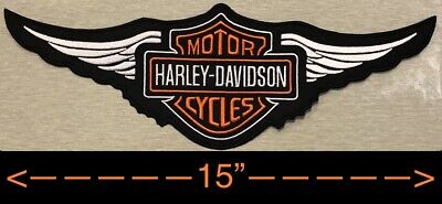 "Harley Davidson Orange Logo with Wings Sew-on Patch (2XL) 15"" Biker Jacket Vest"