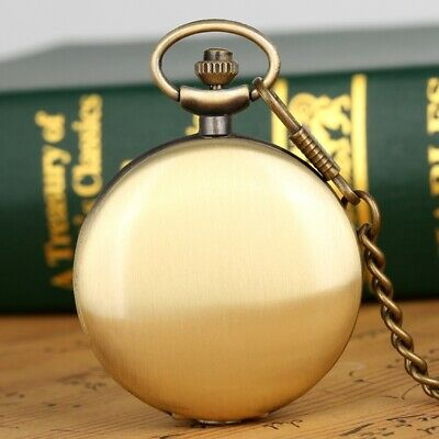 Antique Quartz Pocket Watch Full Hunter Arabic Number Round Dial Necklace Chain