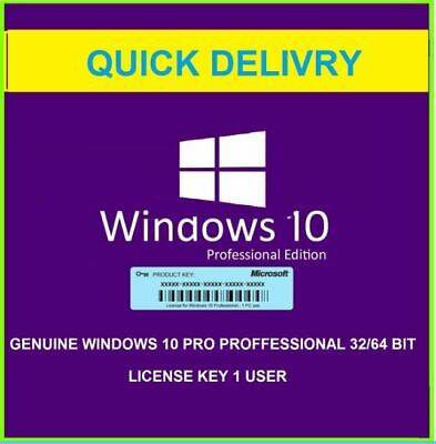 Windows 10 Professional 32/ 64BIT Product Key Genuine Lifetime Activation Instan