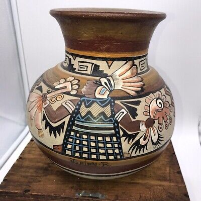 vintage mexican pot painted pre columbian with mayan warrior and designs