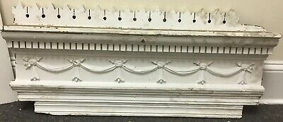 Antique Architectural Salvage Wood Pediment Piece Carved Eastlake Painted White