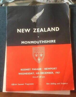 Collectable Vintage New Zealand V Monmouthshire Rugby Programme 1967