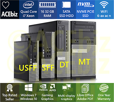 Dell Quad Core i7 Optiplex 7010 WiFi Fast Desktop Computer PC Gaming Workstation