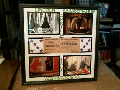 "Abraham Lincoln Assassination Framed ""Fords Theatre Ticket"" Historical Display#2"