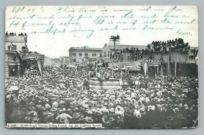 """""""Drilling Contest"""" GOLDFIELD Nevada~July 4th Antique Mining Town Postcard 1907"""
