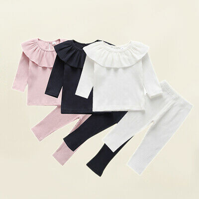 Toddler Baby Girl Solid Color Ruffle T-Shirt Leggings Pants Knitted Clothes