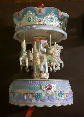 Horse Carousel Music Box Ceramic Carnival Ride Merry-Go-Round 10 3/4in. Tall