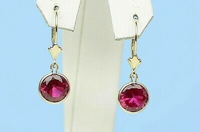 3 ct Round Cut Red Ruby Drop Dangle Earrings 14K Solid Yellow Gold