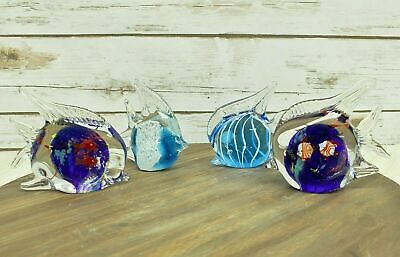 Lot Of 4 Art Glass Fish Paperweight Figures Figurines Blue Angelfish Aquarium