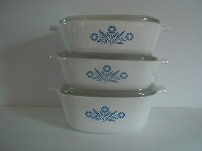 3 Corning Ware Casserole Cornflower dishes with lids