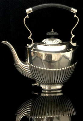 ISF Sheffield English Silver Plate Queen Anne Style Fluted Sides Coffee/Tea Pot