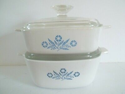 2 Corning Ware Cornflower Casserole dishes with glass lids.