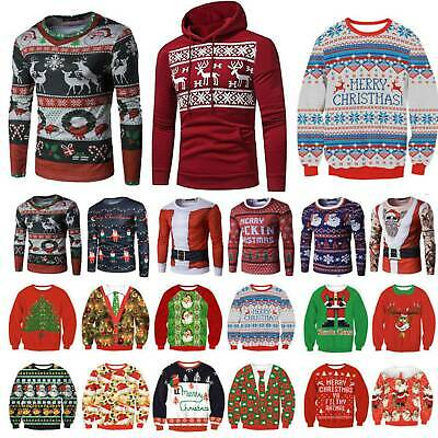 Adults Christmas Hoodie Sweater Ugly Xmas Jumper Sweatshirts Blouse Casual Tops