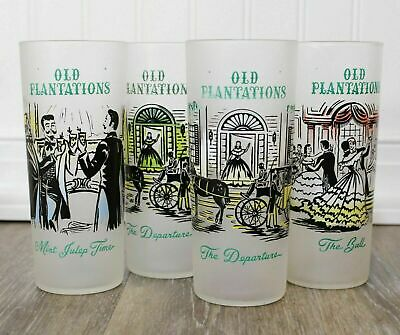 Vintage Libby Tall Drinking Glasses Iced Tea Frosted High Ball Old Plantation