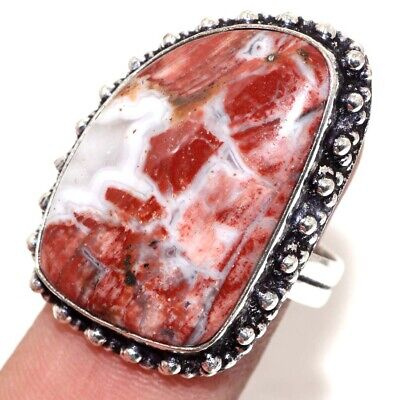 E1928 Rainbow Jasper 925 Sterling Silver Plated Ring Us 8.5