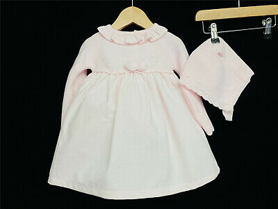 *SALE* Gorgeous Baby Girl Pink Spanish Long Sleeve Knitted Top Dress Bonnet Set