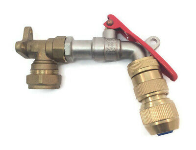 Garden Tap Kit With Wall Mount for 20mm Blue MDPE Piping and Hose Lock Connector