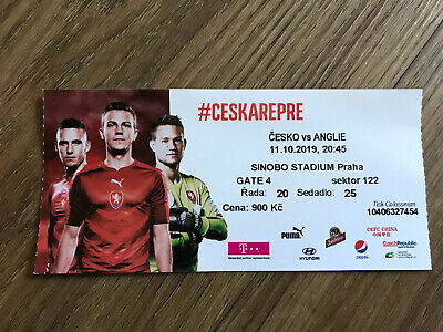 USED TICKET CZECH REP v ENGLAND EURO 2020 QUALIFIER 11th OCTOBER 2019 MINT