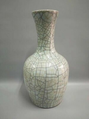 """14.56""""High Chinese Antique Guan Ware Porcelain Ice-cracked Vase Bottle Collect"""