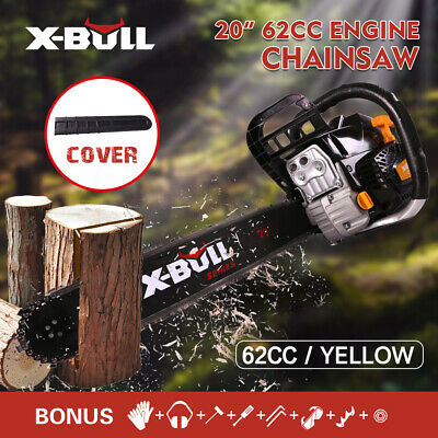"""X-BULL On Sale 62cc Chainsaw 20"""" Bar Powered Engine 2 Cycle Gasoline Red"""