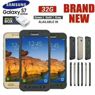 New Sealed SAMSUNG Galaxy S7 Active G891 Grey Gold Green Rugged Phone Android