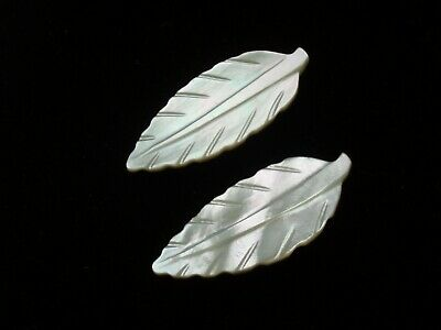 Beautiful ANTIQUE Victorian LARGE Mother of Pearl LEAF buttons x 2