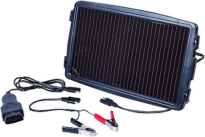 AA 5060114614185 Solar-Powered Car Battery Charger, Black