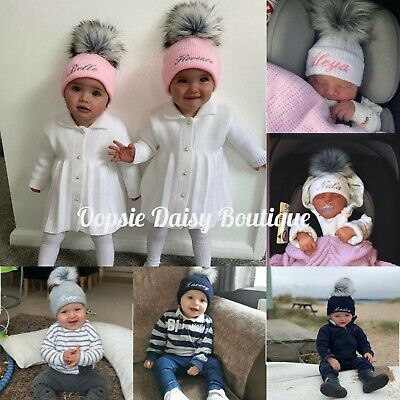 Personalised Hats Girls & Boys Lovely Knitted Pom Pom Hats ⭐