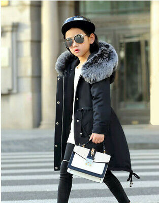 Kids Girls Winter Faux Fur Collar Hooded Long Hoodies Coat Jacket Parka Outwear