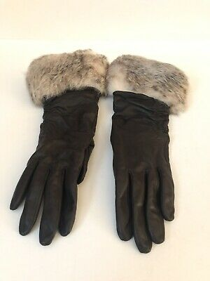 UGG CLASSIC LEATHER LONG TOSCANA TRIM BLACK GLOVES sz M - NEW
