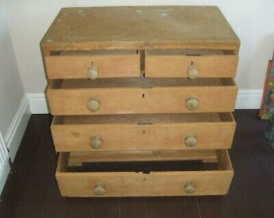 Antique/vintage Victorian stripped pitch PINE drawers, 2 x 3, to fully restore