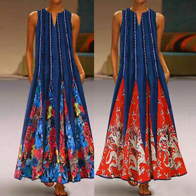 Retro Womens Summer V Neck Floral Dress Boho Loose  Kaftan Long Dress Plus Size