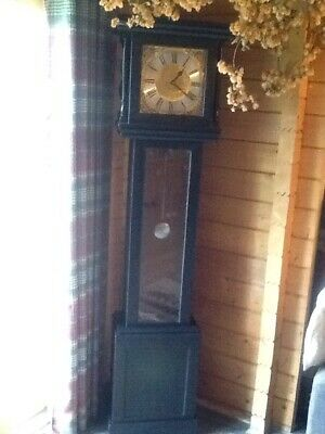 Pine Grandfather Clock. Battery Operated.  Used