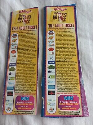 2x Kellogg's Grown Ups Go Free Voucher Alton Towers Legoland Sealife FREEPOST