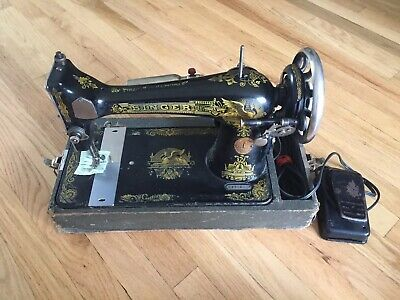 Antique 1920's Sphinx Singer Sewing Machine 127 Gold Ornate With Case