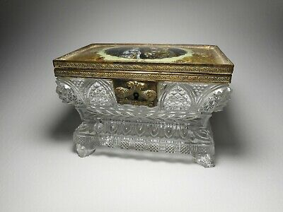 Antique 19th Century Pressed Lacy Glass Dish W/ Brass & Glass Hand Painted Lid