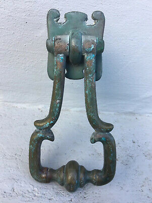 Antique Vintage Old Brass Door Knocker Handle Ornate Salvaged Architectural