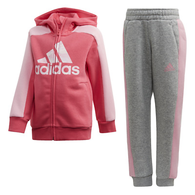 Adidas Kids Linear Tracksuit Running Graphic Hoodie Set Girls Sport Gym FK5877