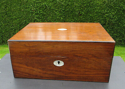 Antique Mahogany or Similar Wooden Jewellery/Sewing Box with Mother of Pearl MOP