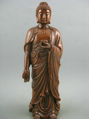 Antique Chinese Old Boxwood Hand Carved RiLai Buddha Statue