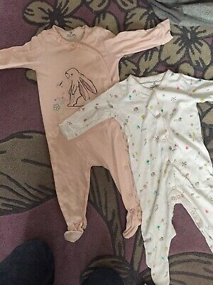NEXT Baby Girl Babygrows x2 Sleepsuits Age 6-9 Months Pretty Bunny Rabbit