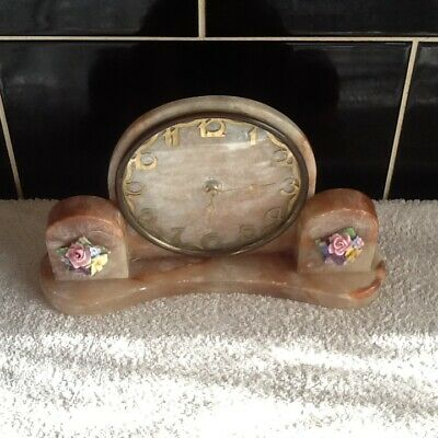 Lovely Art Deco Pink Quart? Mantle Clock(Working)With China Flower Decoration