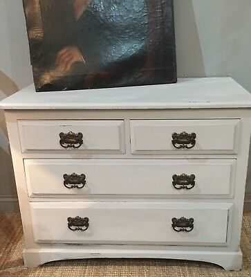 Painted Pine Art Nouveau Chest Of Drawers Shabby Chic Scandi Style