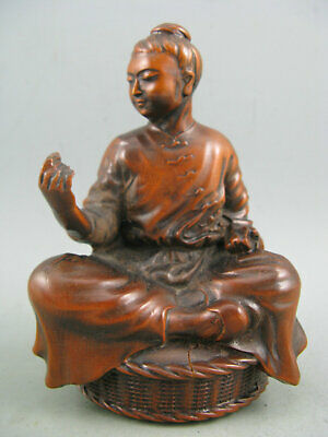 Antique Chinese Old Boxwood Hand Carved Hard working mother Statue