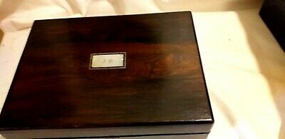 A Charming Small Rosewood Writing Slope With Inkwell & mother of pearl cartouch