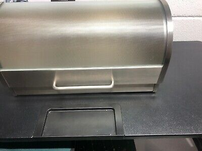 Stainless Steel Roll Top Bread Box with Tempered Glass Lid