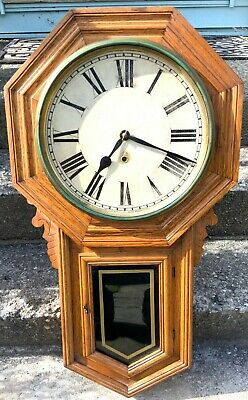 Massive Early 20th c. Antique ANSONIA Long Drop Regulator Wall Clock - AS IS