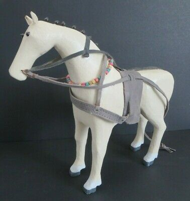 "Beautiful Vintage 11"" Tall Wood White ""Horse"" Hand Carved Figure"